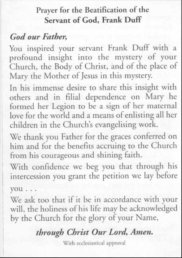 Legion of Mary - Frank Duff prayers